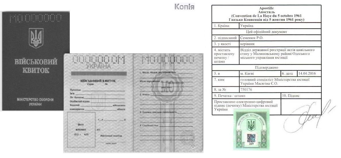 Апостиль на нотариальную копию военного билета Украины - Справка Информ