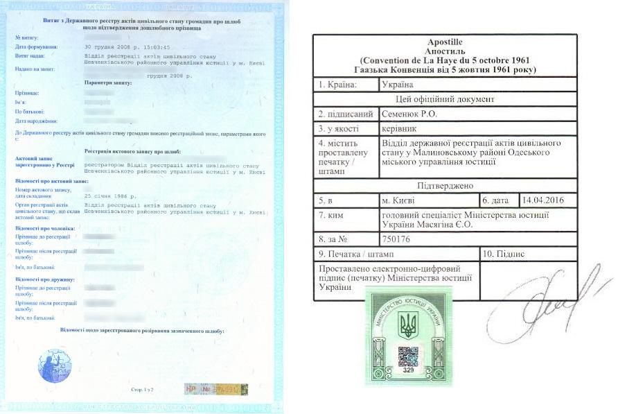 Апостиль на выписку из государственного реестра Украины - Справка Информ