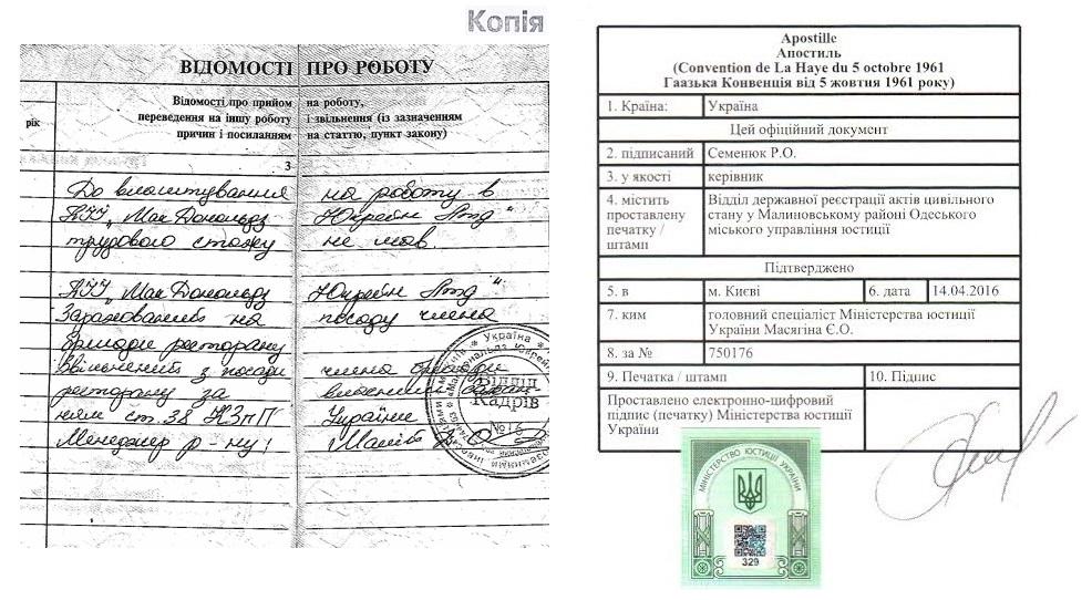 Апостиль на нотариальную копию трудовой книжки Украины - Справка Информ