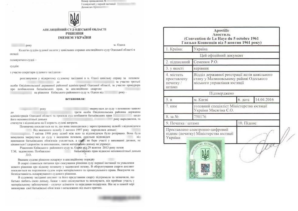 Апостиль на решение суда Украины - Справка Информ