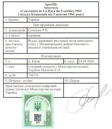Апостиль в министерстве юстиции Украины - Справка Информ